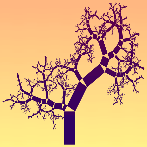 This example randomizes both key tree properties. The bending angle for each branch is chosen arbitrarily and the proportions of each rectangle are also selected randomly. Thus, we get an absolutely randomized Pythagorean tree with branches and twigs going in all possible directions. We color this tree with a paua to pompadour color gradient in the tree direction and calculate 15 iterations.