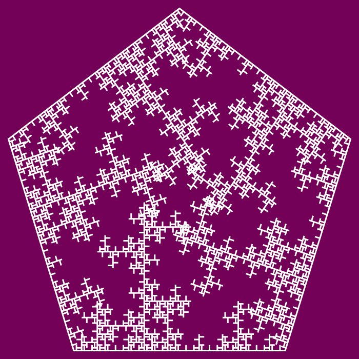 In this example, we've selected the third form that uses a single long ice needle as the generator. It creates a frigid stellar anti-dendrite fractal based on a pentagon. The long single spike motif is very similar to the single spike motif but it's 2 times longer. As a result, we get a completely different fractal. We draw the 5th recursive step on a pompadour color canvas.
