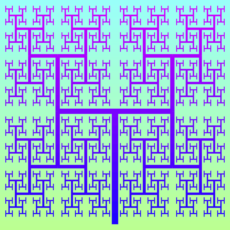 This example generates a tree with the right angles for both branches. The right angle is the critical angle for a canopy fractal as at this angle it turns in a space-filling fractal and the tree can completely fill a square with its branches. By adjusting the bifurcation scale factors of the curve, we can find values that make the branches not overlap one another, and we get the Hausdorff fractal (also known as the H-tree). We run the iterations for 11 stages and get 2¹¹ - 1 = 2048 - 1 = 2047 segments.