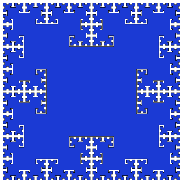 In this example, we draw the original tsquare fractal after 6 iterations. At this stage, this fractal consists of 6 sets of overlapping squares of different sizes. The first set is a single unit-length square, the second set is four half-unit-length squares, the third is twelve quarter-unit-length squares, etc. We paint this fractal in three colors – white for the background, black for square edges, and Persian-blue for square fill.