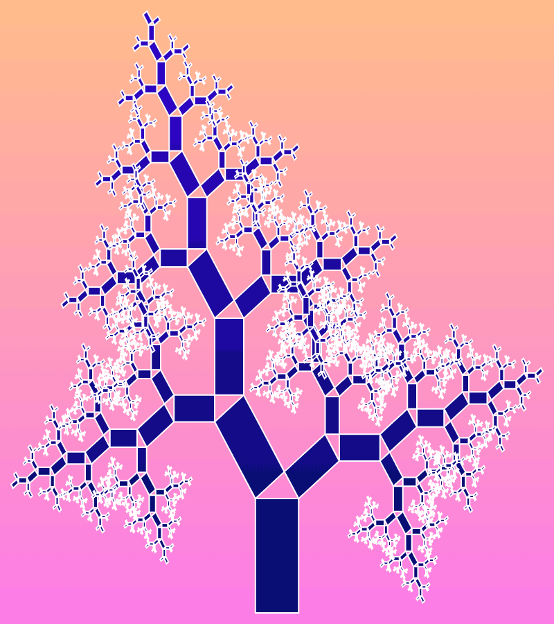 In this example, the left and right angles alternate at each recursive level. As a result, the Pythagoras fractal has a shape of a coniferous tree. We set the first left bending angle to 35 degrees that makes our tree to be tilted to the left side. We also set the proportions of the base rectangle to 1:2 to make the tree thinner and higher. To make the tree fit nicely in the canvas, we slightly lengthen the height of the canvas to 900 pixels, with a width of 800 pixels, and draw 12 recursive levels of rectangles.