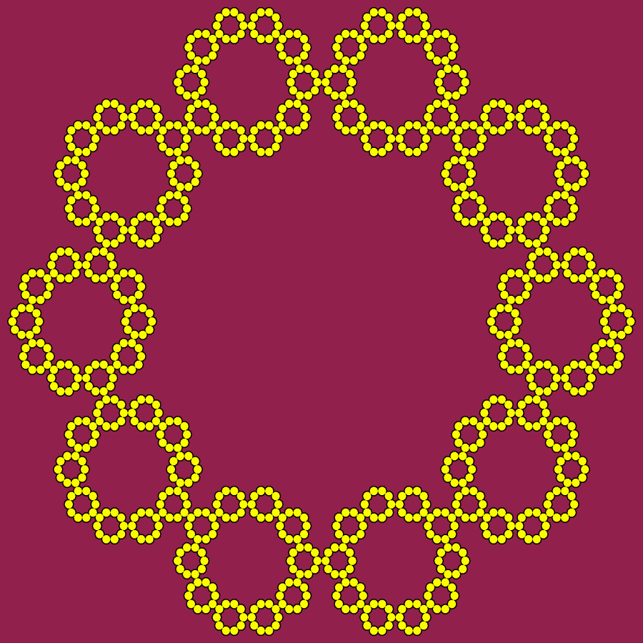 In this example, we generate a decagon fractal (the base is a ten-sided polygon). As its internal angle is 144° degrees, the Koch curve around it has 180°-144° = 36° degrees. Because of its stunning symmetry, this fractal type is often used to design necklaces. If you count carefully, you'll find there are 10^(4 - 1) = 1000 decagons in this drawing. Decagons are drawn with black ink on a disco-red background and filled with a yellow color.