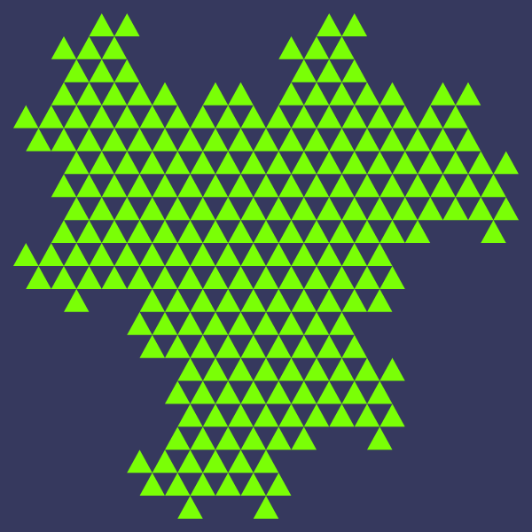 In this example, we let the triangle dragon fractal evolve for 6 generations. To make it more custom, we've set the triangle border thickness to 0 and compared to the previous example, we've also changed the direction of drawing the triangles from left to right (effectively drawing it upside-down.) Notice how even more dragon heads and tails emerge.