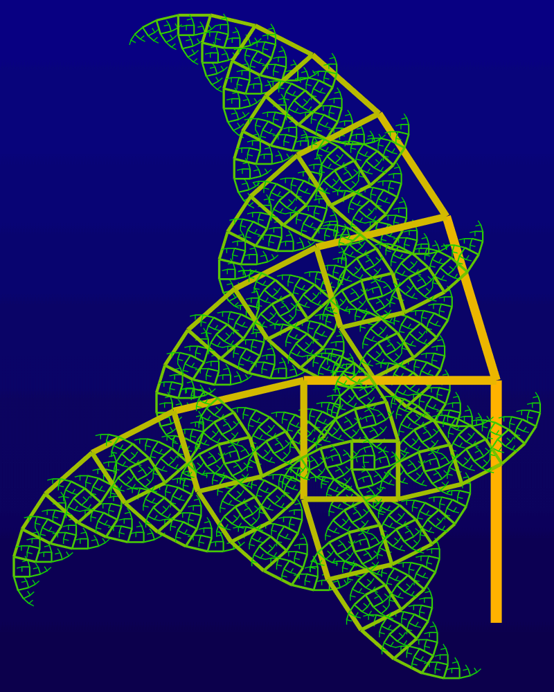 In this example, we use a very large bifurcation angle of 345 degrees for the right branch and a right 90-degree angle for the left branch. This makes the fractal heavily tilt to the left. With 12 iteration steps, this behavior makes the branches resemble the wings of a dragonfly. To fit the tree, we have increased the height of the image to 1000 pixels and width to 800 pixels. We fill individual segments with a gradient from selective-yellow color at the ground level to green at the top level.