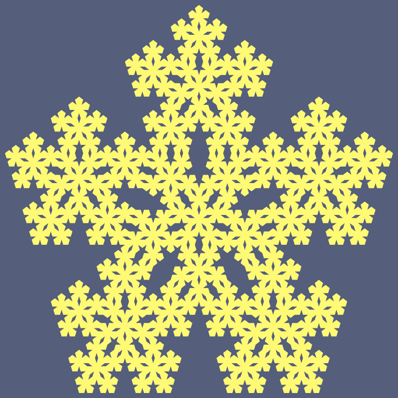 In this example, we generate a Durer fractal. The Durer fractal is the third type of the pentaflake fractal, which completely fills all centers with extra pentagons. Here, with each iteration, the number of pentagons increases sixfold – there are five pentagons at the edges and one in the center. Thus, the number of pentagons at the nth iteration is equal to 6^(n-1). We illustrate the 5th iteration of the fractal and use only two colors, filling the pentagons with daisy color and background with comet color.