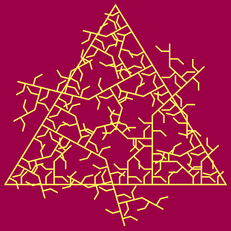 In this example, we've set the ice fractal on fire. This fractal uses fiery colors and is generated from a single bent spike motif on a triangular base. The spike emerges from the generator at an angle of 90 degrees and then bends again at 45 degrees. We draw the reverse and inverse form at the fourth iteration stage, using a 5-pixel thick flaming line.