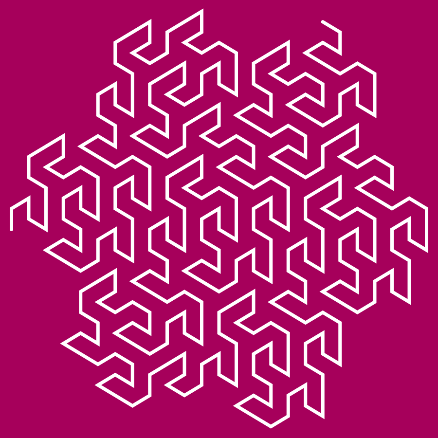 This example displays the third stage of Peano-Gosper fractal. Stage three means that it has been iterated three times. This example uses a square canvas with a size of 900 by 900 pixels and padding of 20 pixels. It draws a white snake line with a thickness of 7 pixels on a pink background.