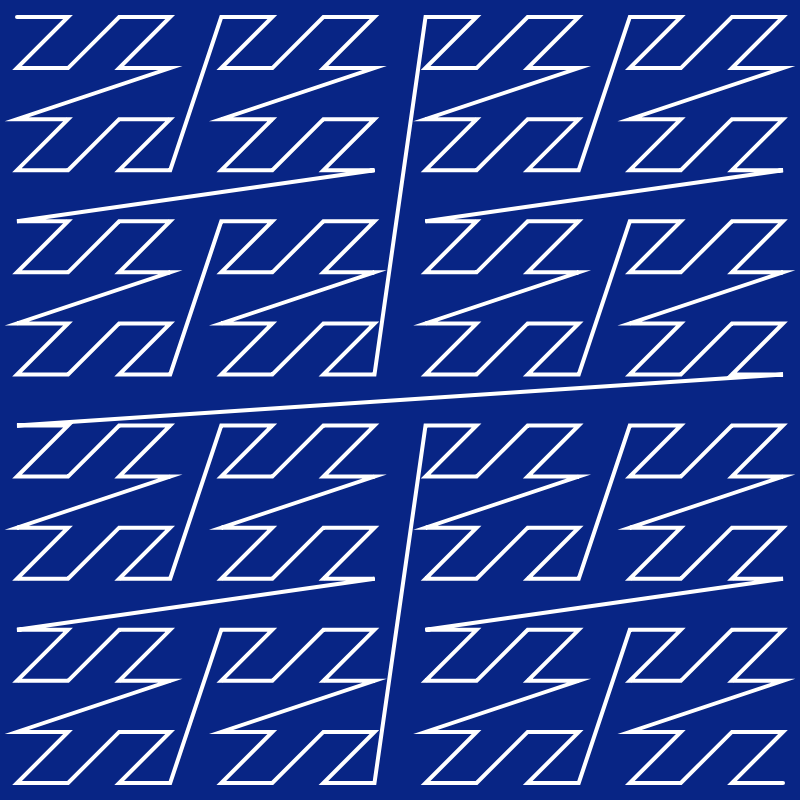 In this example, we create a 4th-order z-order curve on a square canvas of 800x800 pixels. To do this, we use a 4-pixel pen and draw a white line on a catalino-blue background.