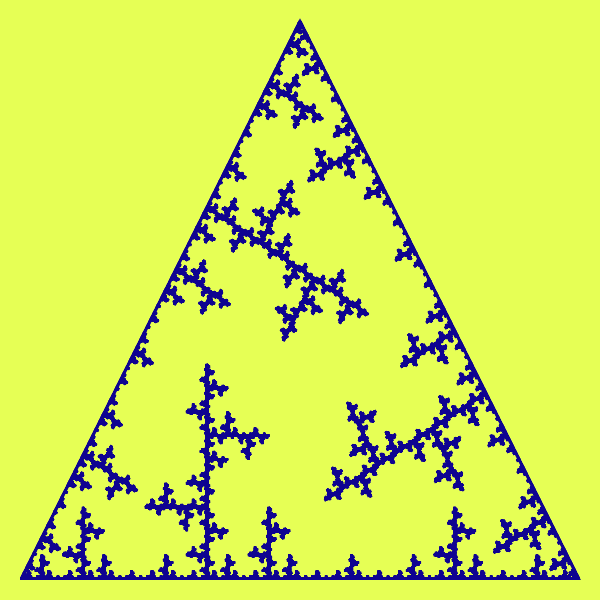 In this example, we generate the single spike form fractal based on an equilateral triangle. We set the inverse mode to true and as a result, we get an anti-triangular frosty fractal. We make 7 recursive motif replacements on a 600x600 pixels canvas, with a line width of 3 pixels and a padding of 20 pixels.