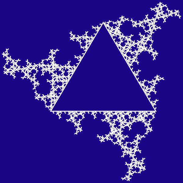 In this example, we iterate the glacial fractal from a triangle and a bent spike. As the spike is pointing outwards the glacial ice also expands outwards. We run 5 iterations of the algorithm and draw this fractal on an ultramarine color background with the size of 600px by 600px.