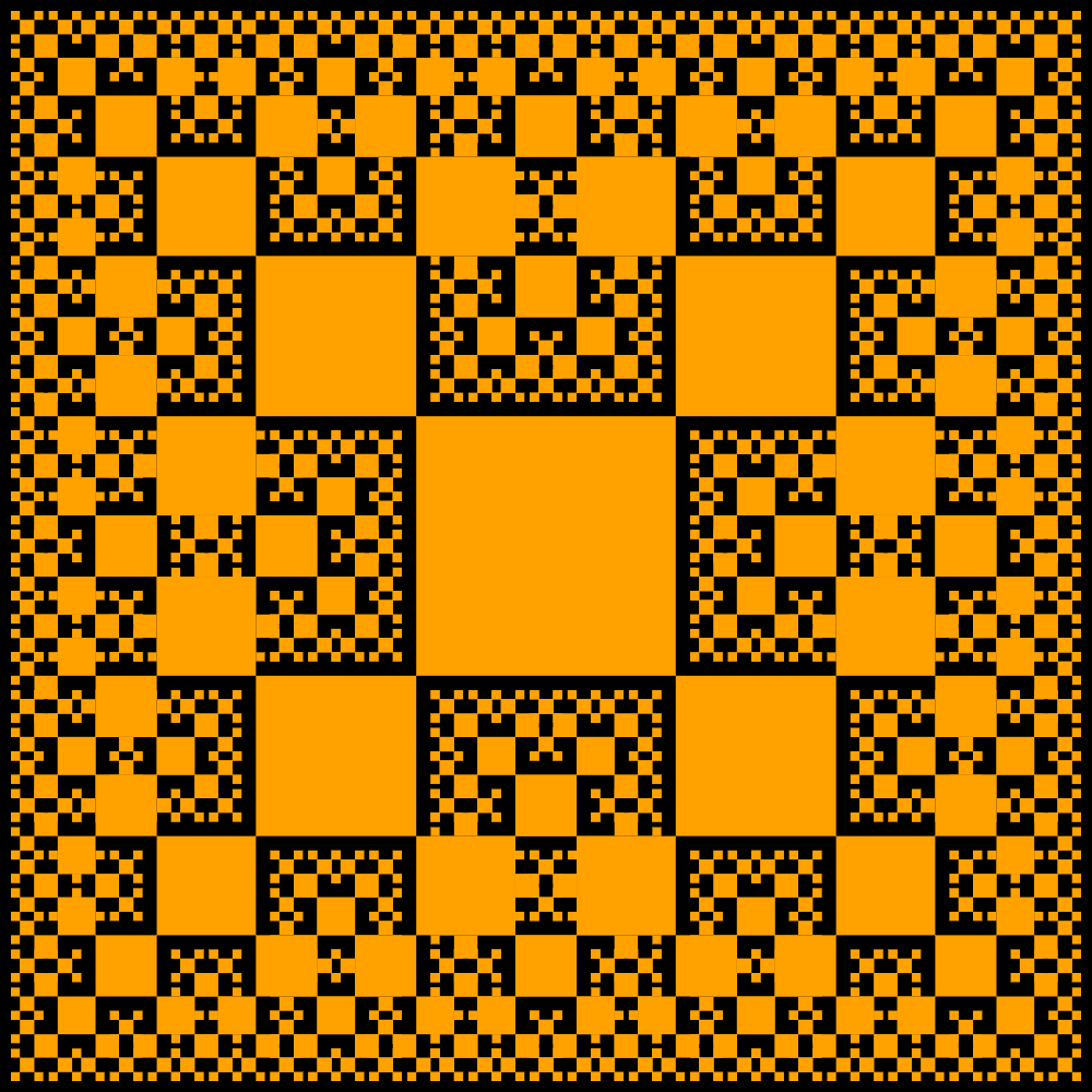 In this example, we illustrate a vertex tsquare fractal with the scale factor equal to the golden ratio φ. In this case, the squares grow so densely together that they fill the entire fractal space with the size of 1000x1000px. We draw the squares without the border and fill them with an orange peel color.