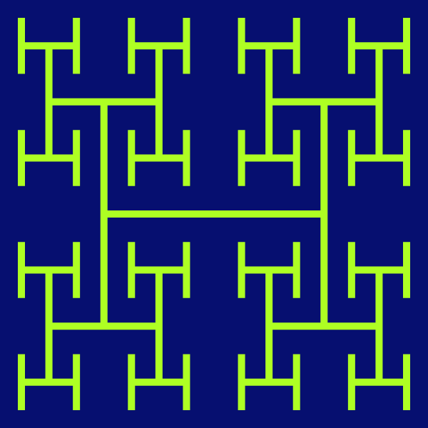 In this example, we set the recursion depth to only 3 iteration steps, which means that there are 21 letters H (or 42 letters T, if you're creating it from Ts). We use a green-yellow color for the line and deep-sapphire color for the background. We also use 600x600px square canvas with padding of 25px and a line segment width of 10px.