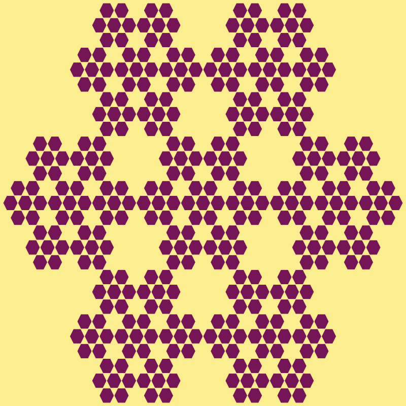 This example generates the third type of hexaflake, which is the full hexaflake fractal. The key difference between the partial and full hexaflake is that the full hexaflake puts a hexagon in the center of every available hexagon (not just center as partial one). We've left hexagon outline color and width options empty and this fractal uses only two color palette – claret color for hexagons and a sweet-corn color the canvas.