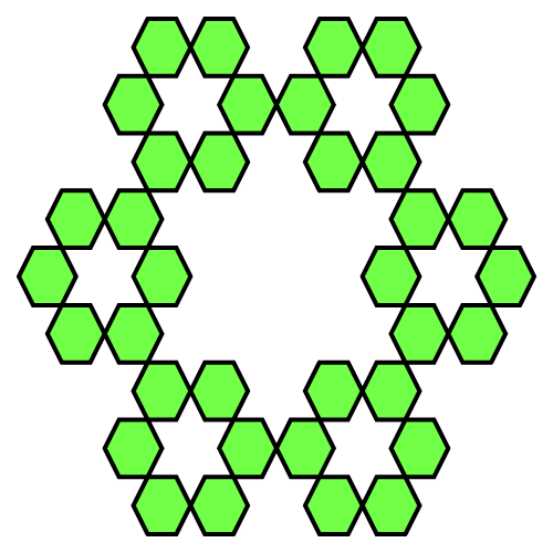 In this example, we're creating the third stage hexaflake fractal from six hexagons. This hexaflake type omits the seventh hexagon from the center of the fractal. This fractal type is the original hexaflake that was studied by Sierpinski. We've also chosen the white for canvas, set its size to 500 by 500 pixels, adjusted the outline of hexagons to be 4 pixels wide and black color, and filled the hexagons with screaming-green color.