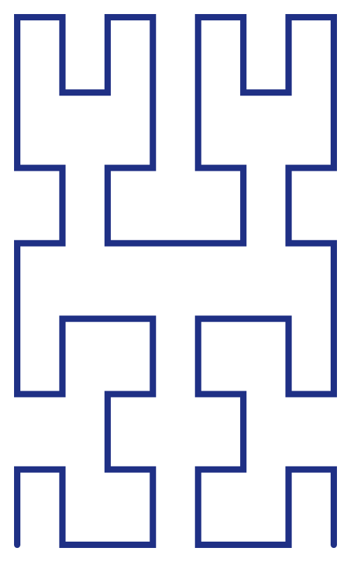 In this example, we're drawing a Hilbert curve in a 500x800 space. As the height is larger than width, it creates a vertical Hilbert fractal curve.