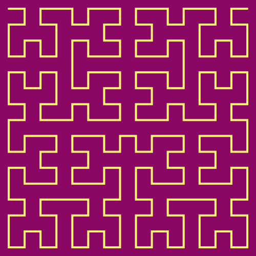 In this example, we set the iterations count to 4 and that created a 4th-order Hilbert fractal. We love colors so we also chose cardinal pink as the background color and Paris daisy yellow as curve color.
