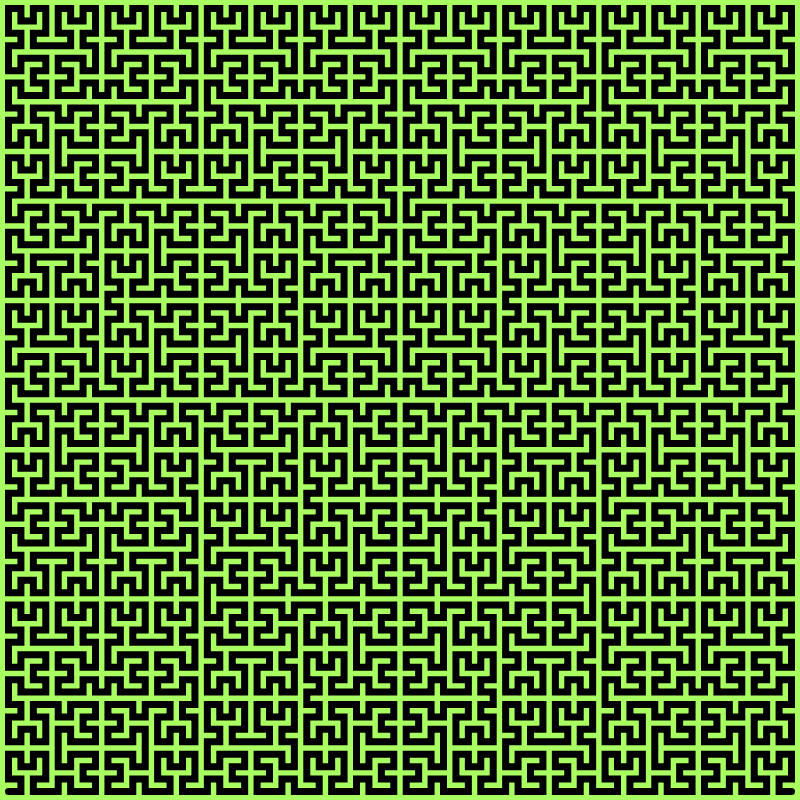 In this example, we've set the recursion depth to 6. We've chosen a green color for the curve and it makes this example look like a maze. We call it a Hilbert Maze. (Fun stuff: If you change the depth to 7, then the fractal will fill entire space. Try it!)