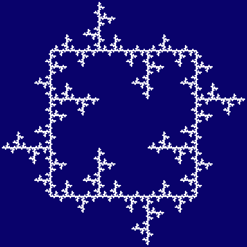 This example uses the double spike generator on a square base. As one of the spikes is pointing inside the square and the other spike is pointing outside the square, we get a symmetric square with icy spikes pointing in all directions around the square. It draws a white curve for six iterative steps on a navy blue canvas with the size of 800x800 pixels.