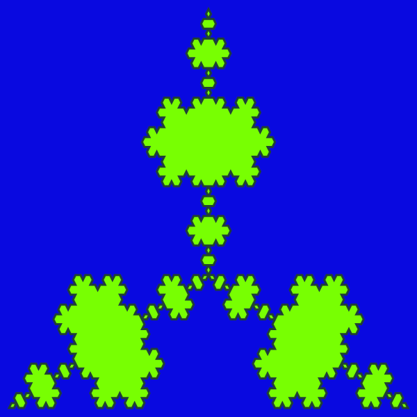 In this example, we generate an antitriangle Koch fractal (also known as antisnowflake Koch fractal) at the 5th recursion stage. As the wedges are directed inside the triangle, their vertices touch each other, dividing the fractal into small islands that touch but don't overlap. We use a dark-blue canvas of 600x600px size to draw chartreuse color islands with a te-papa-green color line.