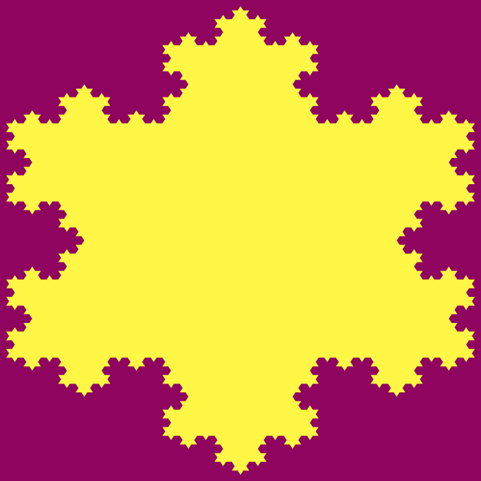 This example creates an order five Koch fractal with 768 curve segments it in. The formula used to calculate it is N₅ = 3×4⁵⁻¹ = 3×4⁴ = 768. It uses two beautiful colors to illustrate it – cardinal-pink for the area outside of the fractal and gorse-yellow for the area inside.
