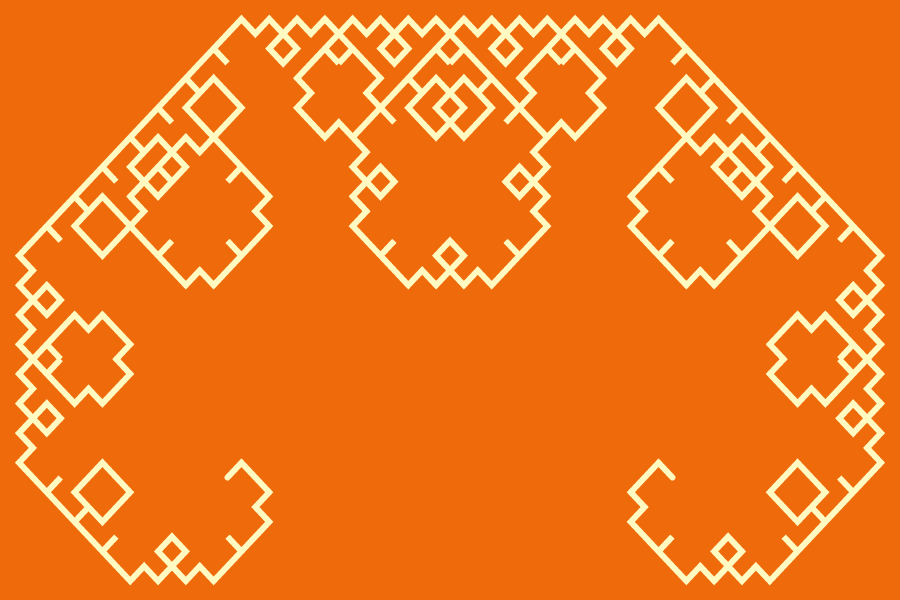In this example, we invert the orientation of the Levy dragon fractal and turn it upside down. We use a Shalimar-yellow color line on a Christine-orange color background and show the 10th recursive stage.