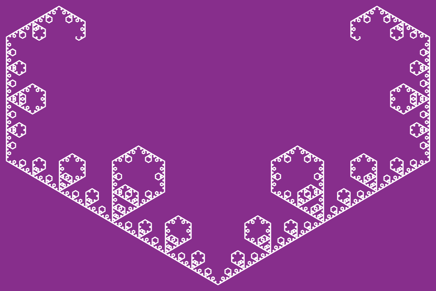 In this example, we generate the Levy diamonds fractal, which is drawn from a 3-sided equal trapezium with a 30-degree angle at the base. We display 10 recursive steps of the Levy diamond curve on a vivid violet 900px-by-600px area.