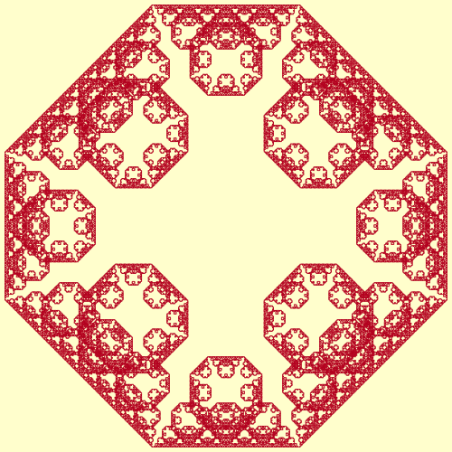This example draws an outside Levy tapestry fractal. This fractal begins as a square but with increasing recursions, it becomes an octagon. We generate 15th recursive steps using 1-pixel thick, cream color line and we draw it on a Monza color square canvas.