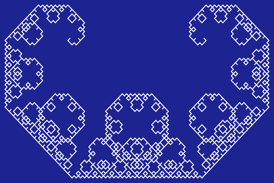 In this example, we generate the regular Levy fractal (also known as Levy dragon) at its 12th iteration step. We draw the curve with a 3-pixel line on a rectangular canvas of size 900 by 600, with 15-pixel padding.