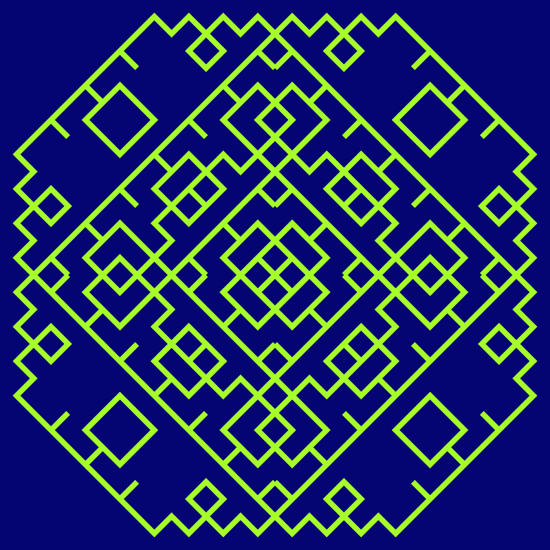 In this example, we generate only 8 iterations of the Levy tapestry to clearly illustrate how the fractal evolves. We use an 8-pixel thick drawing pen so that all lines were well visible and draw them in contrasting colors (green-yellow color pen on a navy blue background.)