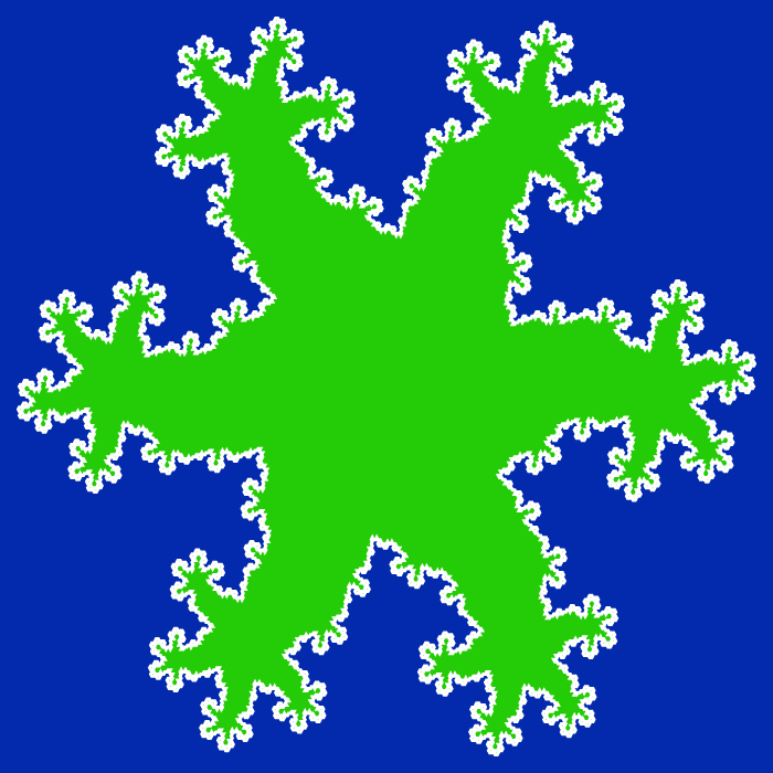 In this example, we generate a hexadendrite fractal and make the dendrites grow outside the hexagon. As there the hexagon has six sides, the dendrites are much more spread apart and the space that is formed inside the fractal is shaped like gecko lizard's fingers. We draw 5 iterations on a Klein-blue color background and fill gecko's paws with a Harlequin-green color.
