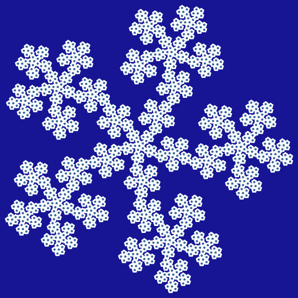 In this example, we generate the McWorter's pentadentrite fractal, which is created from five touching dendrites pointing outside the pentagon. We set the rotation of the fractal to counterclockwise and generate the fifth iteration step on a Koamaru deep blue color canvas of 600 by 600 pixels.