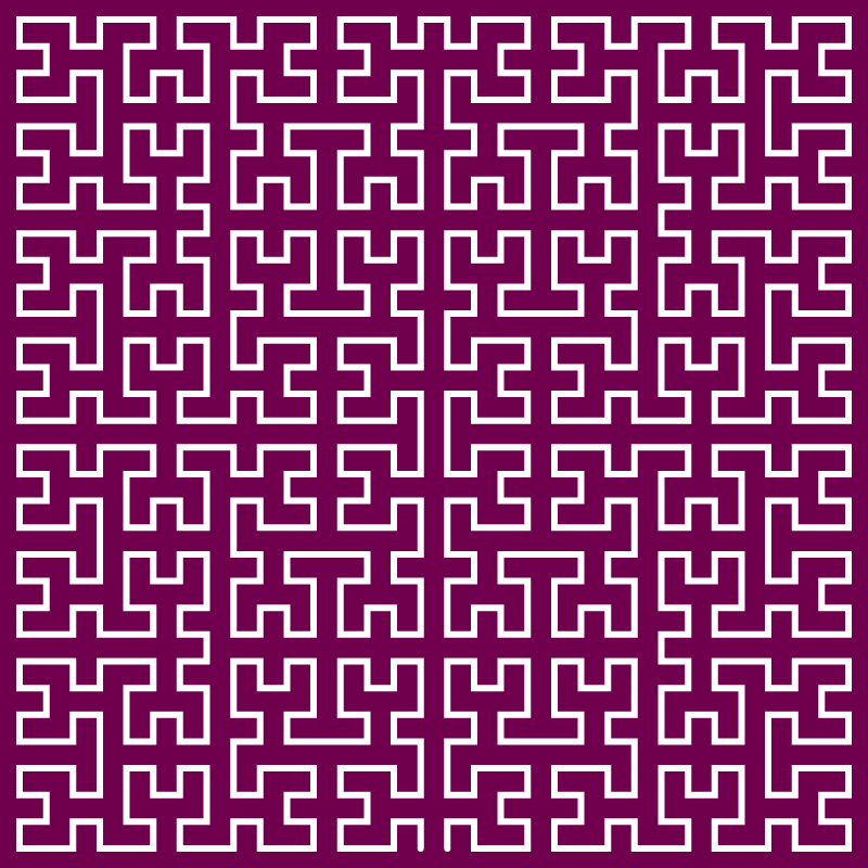 This example generates the Moore curve with five iteration step. The fractal curve is drawn on a pompadour-colored canvas with dimensions of 800x800 pixels. The curve itself is 6px thick and in white color.