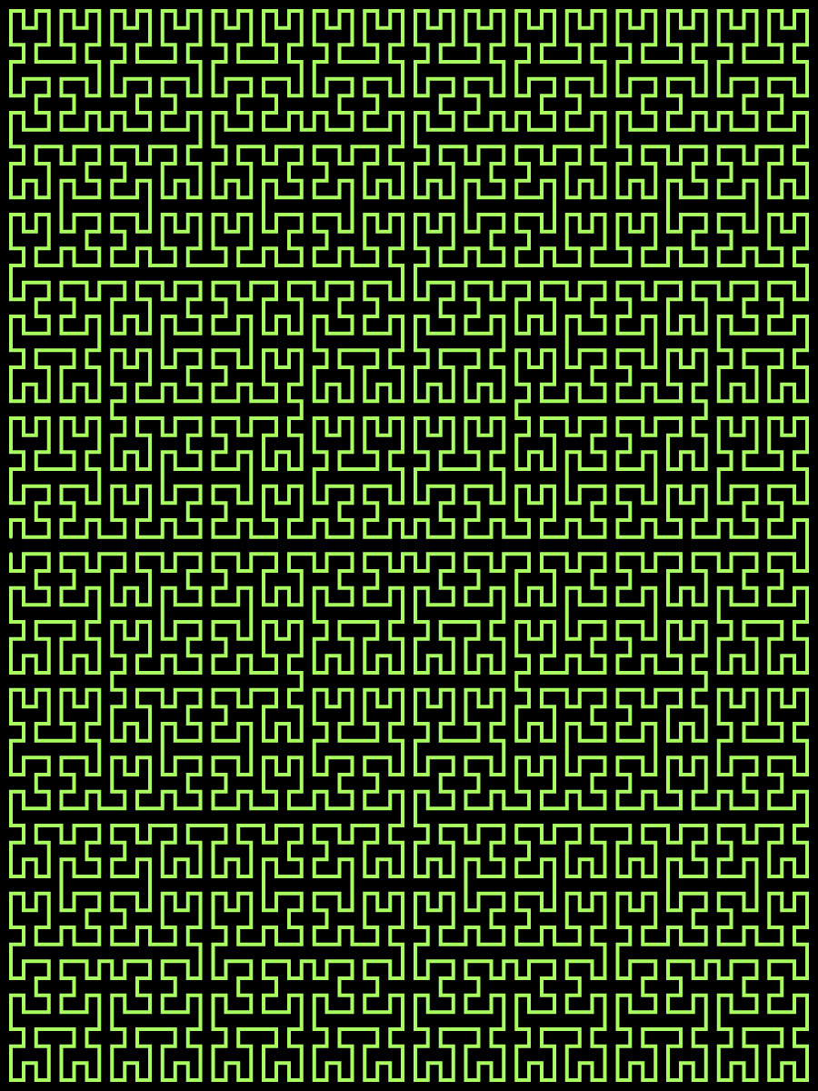 This example draws the Moore maze. The Moore maze is a Moore fractal that uses the green color for the curve. It has its name from the fact that it looks just like a hedge maze. This particular maze is vertically stretched with the size of 900x1200px and depth of 4 iterations.