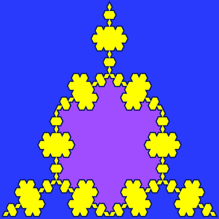 In this example, we generate a multi-colored fourth-order Koch triflake. We use all colors in the palette for it – a blue-ribbon color for the background, a heliotrope color for the Koch star that's formed inside, yellow for the triflake islands, and an arapawa color for the line. We draw this fractal on a 700 by 700 pixels canvas with an 8-pixel padding and 6-pixel line width.