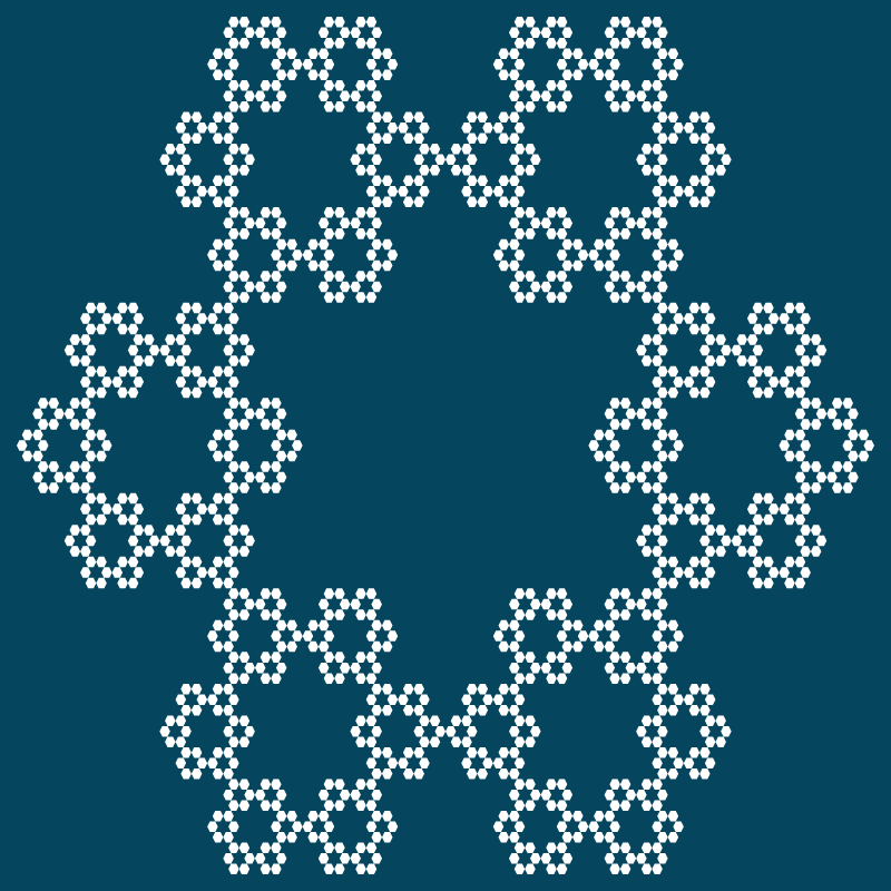 This example puts a regular 6-gon in the base, thus generating the well-known hexaflake fractal. It uses 5 iteration steps here and the image is composed of 6^(5 - 1) = 1296 hexagons. The hexagons are drawn without a border and are only filled with white color.