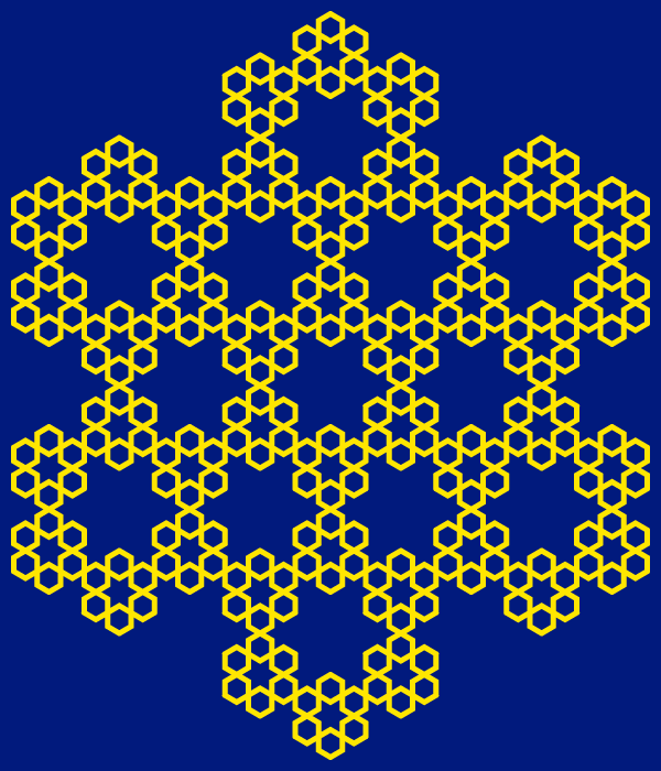 In this example, we're generating the partial hexaflake type. This type puts another hexagon in the center of all hexagons. It's called partial type because unlike full hexaflake (see next example) it only uses one extra hexagon. The hexagons in this example have a yellow border, which is 5 pixels thick and it's drawn on a resolution-blue background. We're also using rectangular space size of 600 by 700 pixels and adjusting the fractal orientation to up (which actually rotates fractal by 30 degrees).