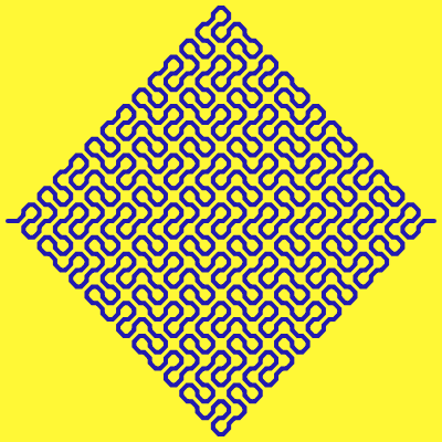 In this image, we've drawn a diamond-shaped Peano fractal with smooth corners. Here the fractal's space is a 400- by 400-pixel square, the curve width is 4 pixels and padding is 5 pixels. The background is golden fizz yellow and the fractal itself is Persian blue.