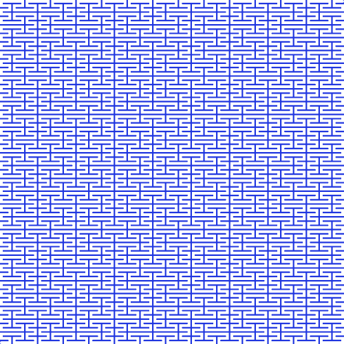 This image is an example of a space-filling Peano fractal. It uses a cornflower blue color for the background and white for the fractal line. As you can see, with only 4 iterations it has almost filled the entire space. If you increase iterations to 5, then you'll get a white image as the curve is white color and it will occupy the entire image.