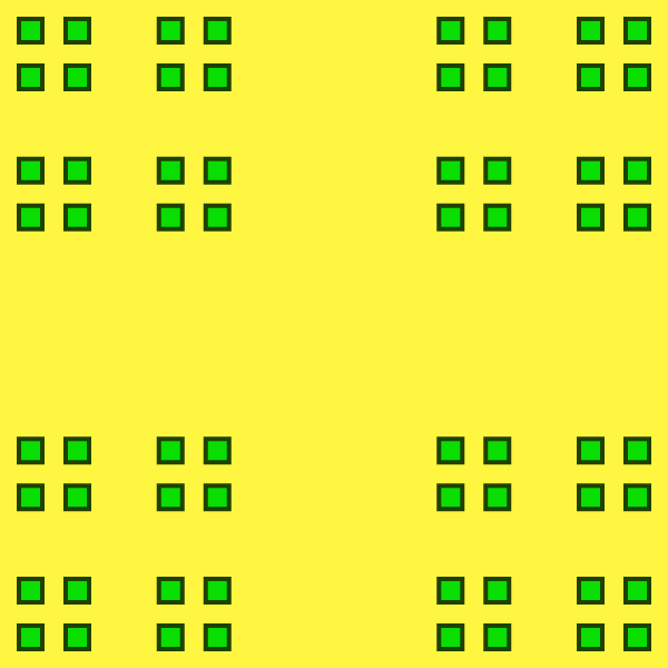 In this example, we generate a regular Cantor dust fractal of the 4th order. The iterative order tells us that there are 4⁴⁻¹ = 4³ = 64 squares shown here with sides 3⁴⁻¹ = 3³ = 27 times smaller than the side of the initial square. We use a 600x600px canvas, fill it with a gorse-yellow color, and draw green dust with a deep-fir color outline.