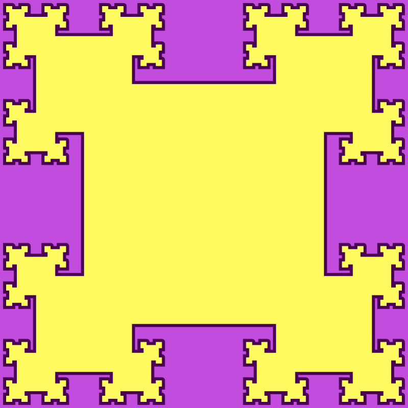 This example sets the scale factor to 2.5 and generates a regular tsquare fractal type. Unlike the classic fractal (where the scale factor is 2), the square sizes decrease significantly faster with each step, quickly diverging from each other. We generate 5 levels of squares, using a lavender color for canvas, ripe-plum color for the border and laser-lemon color for squares fill. The area of a square at 5th level is 1525x smaller than the center square, the perimeter is 156x smaller, and one side is 39x shorter.