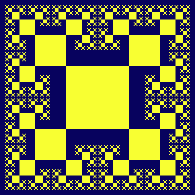 This example generates a 7th order vertex tsquare fractal. It consist of 1 + 4 + 4*3 + 4*9 + 4*27 + 4*81 + 4*243 = 1457 squares, in order from the largest to the smallest size. This matches the formula 2×3⁽ⁿ⁻¹⁾ - 1. It uses an 800 by 800 pixels canvas with 20-pixel padding and draws it with two bright colors.