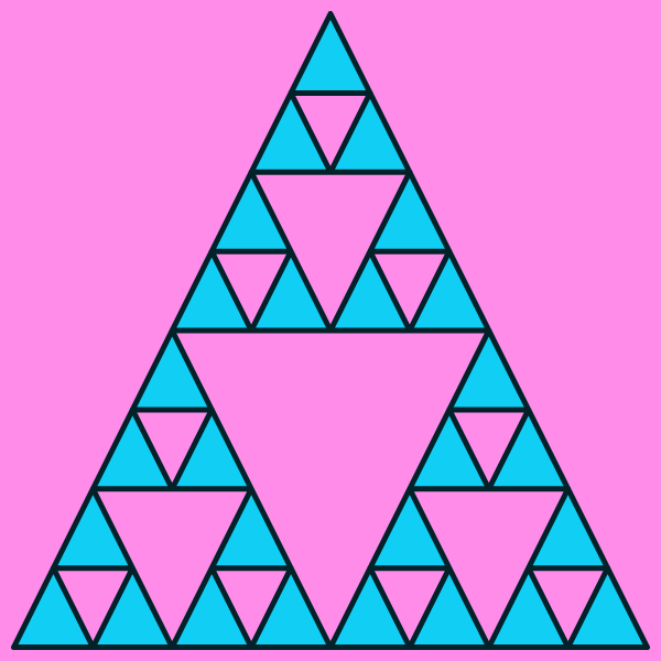 In this example, we generate a multi-colored Sierpinski fractal at its 4th iteration stage, which means that it's built from 3⁴⁻¹ = 3³ = 27 triangles. We draw the triangles in Daintree color, fill them with a bright turquoise color and use lavender-rose color for the canvas area of a size 600 by 600 pixels. We also set 10-pixel padding for the triangle.