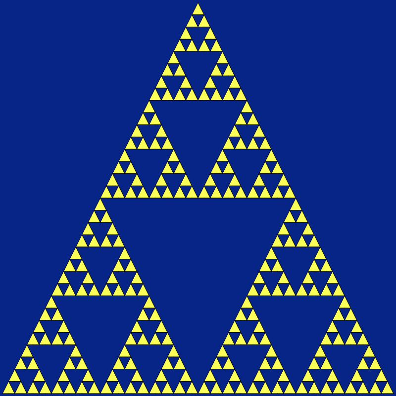 In this example, we form a Sierpinski fractal from filled triangles that are all connected by their vertices. We've left the border color empty so there's no color used for drawing the edges of triangles. We illustrate the sixth recursion step and there are 3⁶⁻¹ = 3⁵ = 243 triangles, each 1024 times smaller than the original triangle.