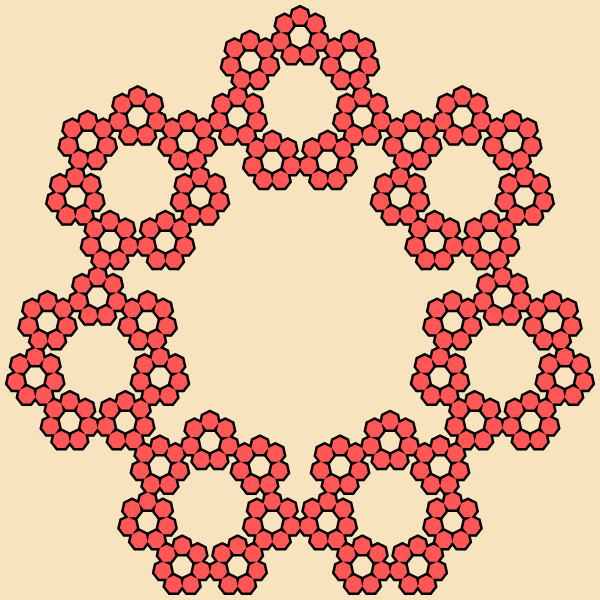 In this example, we generate a multiflake fractal with a regular heptagon in the base (hepta means seven). We evolve it for 4 iterations and get a heptagon fractal with 7^(4 - 1) = 343 heptagons. We use a givry color canvas of 600x600 pixels, a black line for the borders of heptagons and a persimmon color for heptagon fill. A heptagon multiflake is also called a Sierpinski Heptagon.
