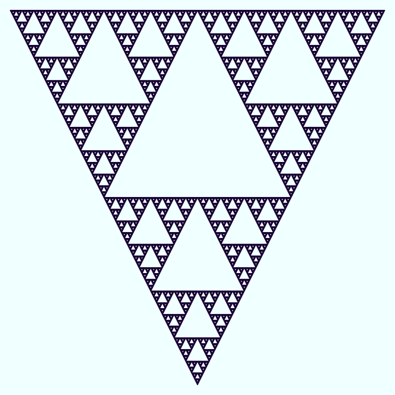 This example uses a 2-pixel line to draw an upside-down Sierpinski triangle of depth 10. The tiny triangles in the bigger triangle aren't filled with any color and are transparent. Only their border in a tolopea color is drawn on a twilight blue canvas.