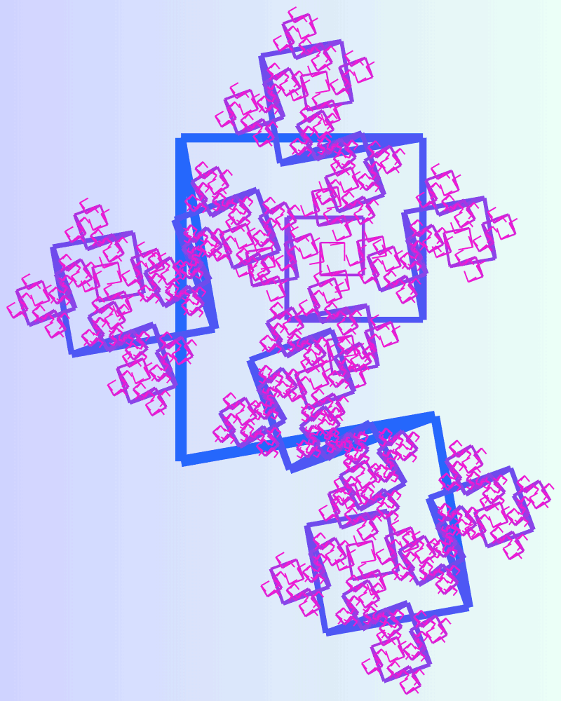 This example generates a square dragon fractal on a rectangular canvas of size 800 by 1000 pixels, with a light gradient from hint-of-green to periwinkle color. It sets the bending angles of the branches to 190 and 90 degrees and sets their scale proportions to 0.6 and 0.75 respectively. It turns the fractal to the left side, removes the padding, and doesn't draw the first segment.