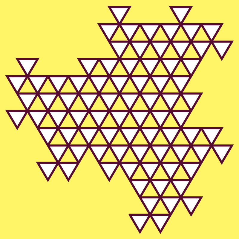 In this example, we create a fifth-order dragon triangle fractal with three colors. We use a Paris-daisy color for the background, cab-sav color for the triangle line, and white color for filling the triangle. With only five iterations, you can already start seeing dragon heads emerging.