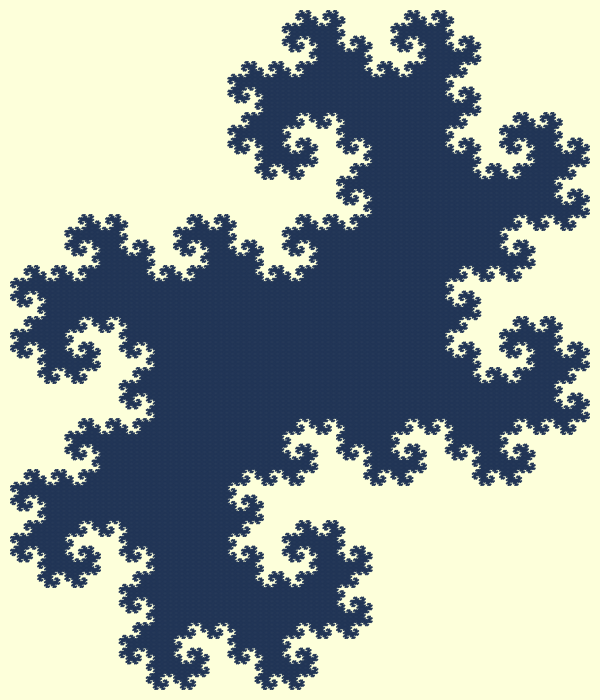 In this example, we create a twin dragon island fractal. This fractal is constructed by using just one color (cloud-burst blue) to fill the contours of the twins and a high iteration count (18 iterations). The dragon curve is just one pixel thick but by the time it's iterated 18 times, it's twisted and looped so many times that this tiny line completely fills the dragon bounds. This fractal island is also often called the Heighway island fractal.