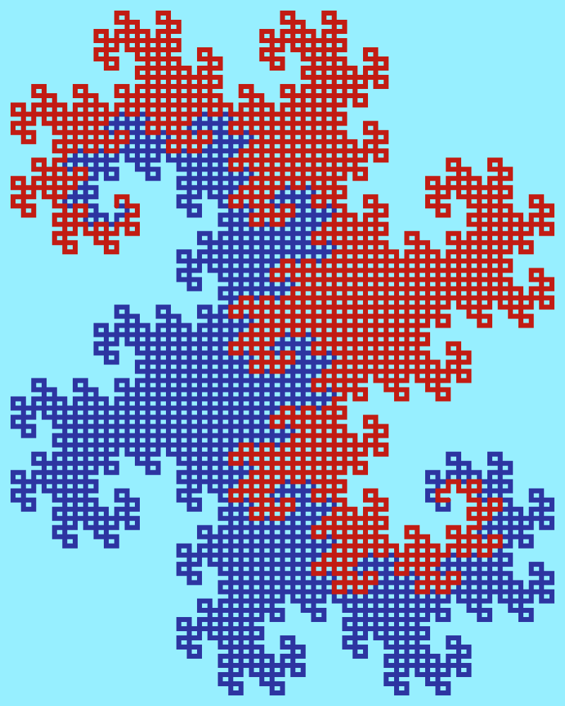 This example gives a detailed view of twin Heighway fractal. By setting the recursion level to 11 iterations, we can see how this fractal is made of individual line segments that form a mesh of interconnected rectangles. We've chosen complementary colors for the drawing to make it maximally attractive. It uses a governor-bay color for the first dragon, thunderbird color for the second dragon, and anakiwa color for the background. It sets the line segment width to 7 pixels and canvas space to 800x1000 pixels.
