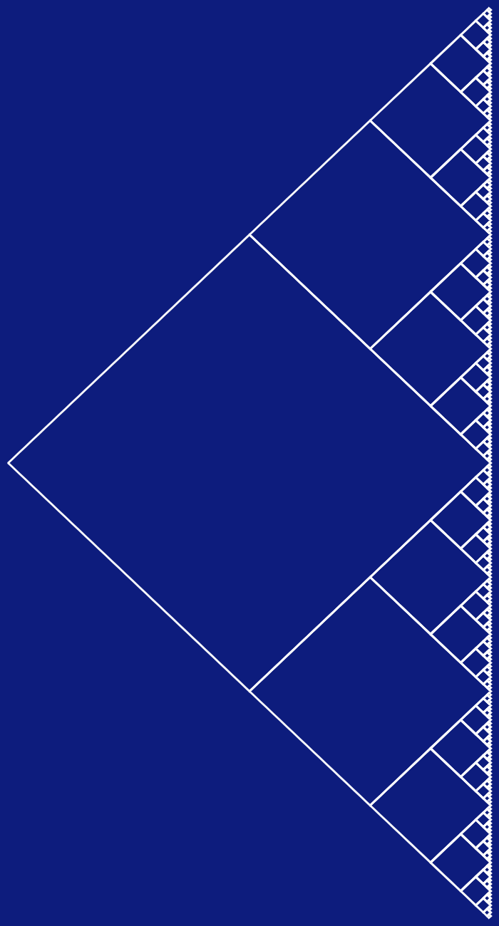 In this example, we select east as the cardinal evolution direction for the fractal. To better see this, we've increased the height to 1300 pixels and the width to 700 pixels. We haven't specified the internal fill color so the v-fractal has only a white curve color and an arapawa-blue as the external fill color.
